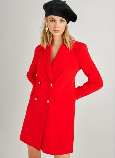 Monamoda Kruvaze Düğme Detaylı Ceket Elbise Kırmızı